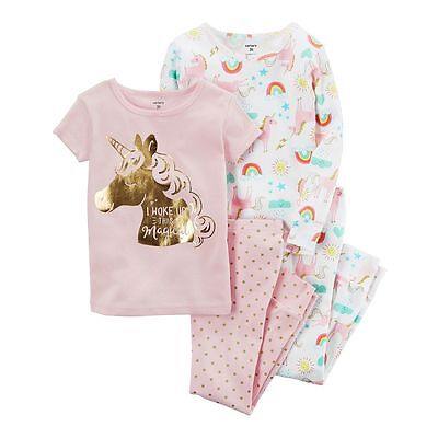 NEW Carter's 4 Piece Rainbows Unicorn Girl Cotton PJs NWT 2 3T 4T 5T 6 7 8 10 12