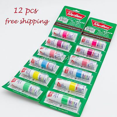 12x Poy-Sian Thai Herbal Nasal Menthol Eucalyptus Dizzy Cold Oil Inhaler Salts