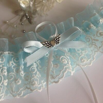 Wedding Garter, Plus Size/Large, Sky Blue & Ivory, Organza & Embroidered Lace