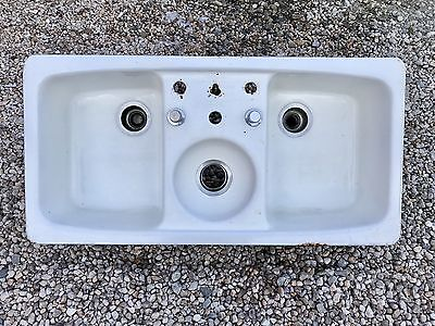 Vintage Triple Basin Cast Iron  & Porcelain kitchen sink 42 x 41