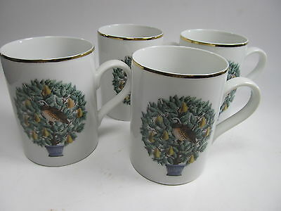 Avon Set of 4 Mugs Partridge In a Pear Tree 12 Days of Christmas EUC