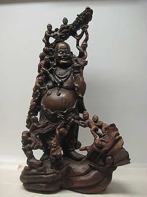 """Vintage Chinese Hand Carved Hard Wood """"Laughing Father"""" Figure 40"""""""