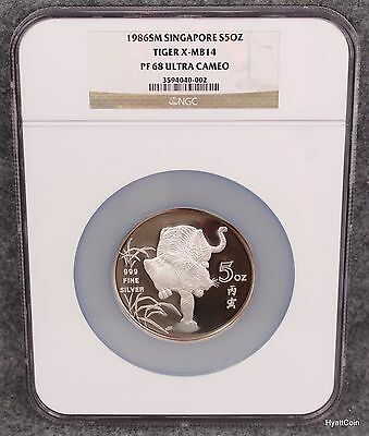 1986SM Singapore Proof 5oz Silver Tiger Lunar Series X-MB14 NGC PF68 Ultra Cameo