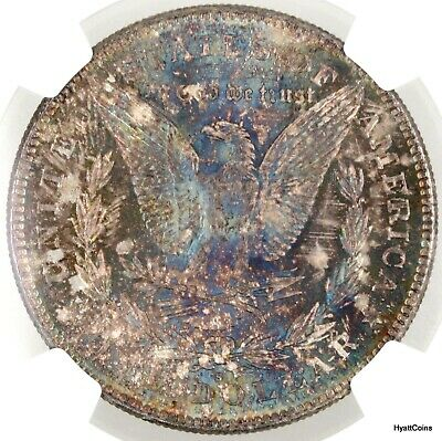1878-S Silver Morgan Dollar $1 NGC MS62  Electric Blue Toned