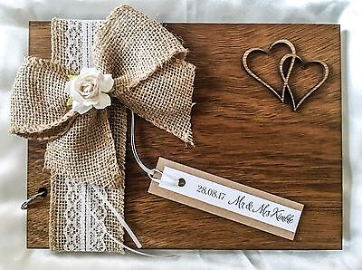 Personalised Wedding Birthday Christening Guest Book Scrapbook Album Wooden