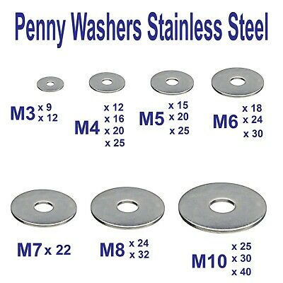 PENNY WASHERS Repair Mudguard Washer M3 M4 M5 M6 M8 M10 A2 Stainless Steel
