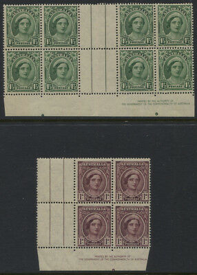 Australia SG #204 Imprint Gutter Block of 8, #203 Imprint Block of 4 Both MNH