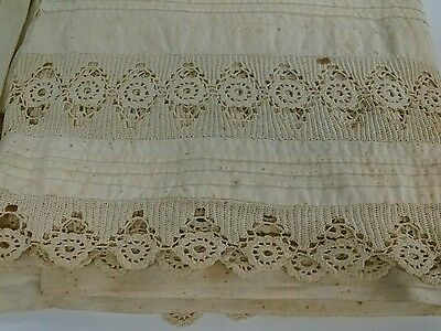 Lot of antique19th c. bed linens,lace, embroidery, pleated, handmade, button on