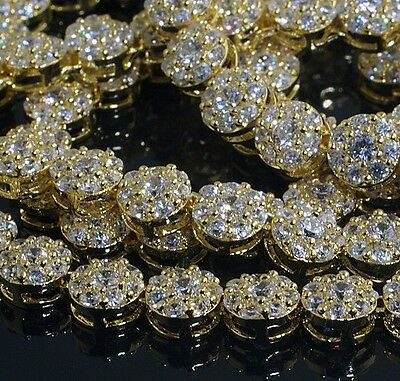 Mens 24K Yellow Gold Filled Gold Diamonds Miami Chain Necklace Iced Out Jewelry