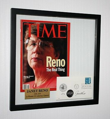 Great JANET RENO Signed AUTOGRAPH, Frame, UACC RD#228 COA, TIME, FDC, Plaque