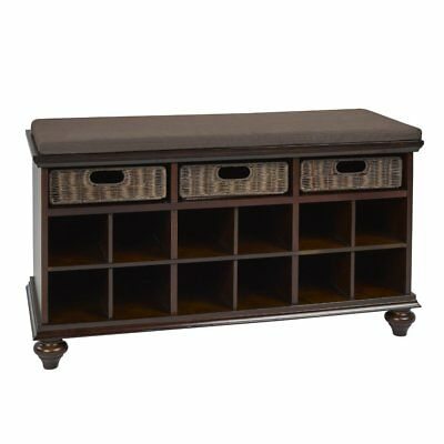 Candace & Basil Solid Wood Shoe Cabinet with Storage, Espresso