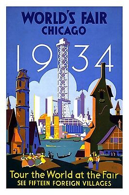 CHICAGO WORLD FAIR 1934 Retro Travel/Promotional Poster A1A2A3A4 Sizes