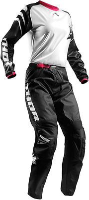 Thor MX Sector Black White Pink Women's Jersey & Pant Combo Set Riding Gear