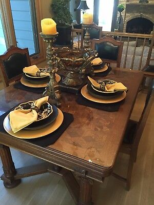 French Oak Inlaid Dining Table W/ 6 Chairs