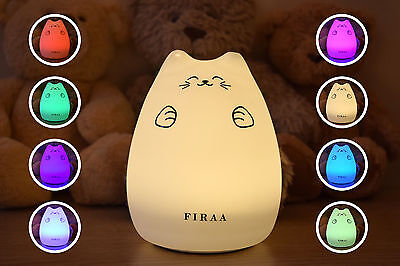 FIRAA Cheeky Cat LED Night Light for Baby Children Nursery Bedroom Colour Change