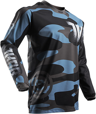 Thor MX Pulse Covert Midnight Black Blue Jersey Riding Shirt Men's Sizes MX/ATV