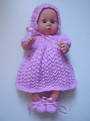 4 pce Clematis Hand Knitted Dolls Clothes. 35-37cm 14-15in.
