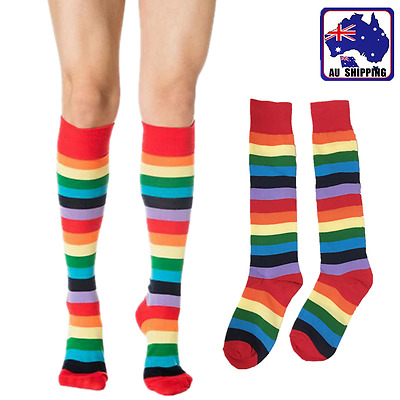 1Pair Girl Women Ladies Rainbow Striped Sock High Knee Stripe Stocking CSOC79209