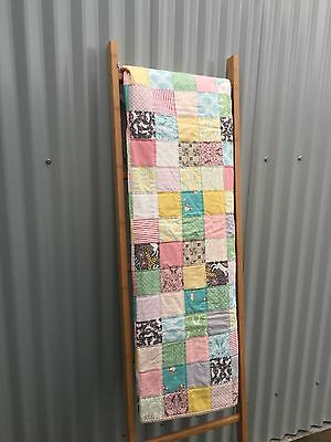 Handmade Patchwork Quilt / Quillow in Pink Lemon Mint and Bunny Brown