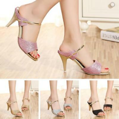 Women Peep Toe Pumps Stiletto Sandals High Heel Golden Slippe Shoes JJ