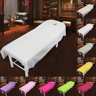 Beauty Solid Color Salon Sheets SPA Massage Bed Table Cotton Cover Sheet W/ Hole