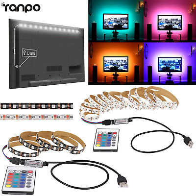 5V 5050 RGB LED Strip Light Lamp Bar TV Back Lighting Kit + USB Remote Control