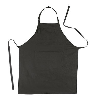 Full Black Apron 100% Cotton Catering Cooking BBQ Chef Kitchen with Front Pocket