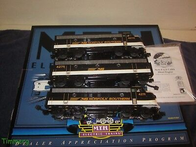 Rare MTH 20-80007B Norfolk Southern O Scale Premier F-7 ABA Diesel Set w/PS-2