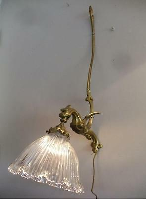 ANTIQUE VTG BRASS FRENCH GOTHIC GRIFFIN DRAGON SCONCE WALL LAMP w GLASS SHADE