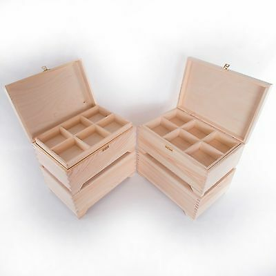 Large Wooden Pinewood Trinket Keepsake Jewellery Box /Memo Boxes with Dividers