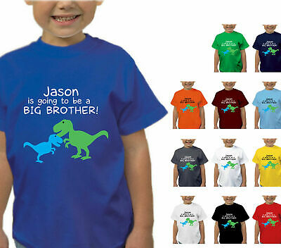 Boys Kids Personalised Im Going To Be A Big Brother Dinosaur T-Shirt T Shirt Top