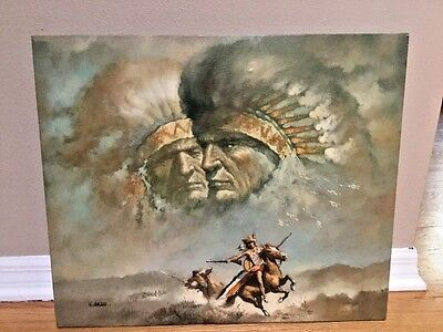 "G. BOGARD (American, 20th C) Oil Painting Canvas West NATIVE AMERICAN 24"" x 20""."