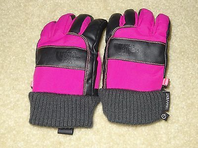 THE NORTH FACE Youth Work Etip Gloves Kids Winter Leather Medium Pink/Black Girl