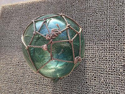 Japanese Vintage Fishing Float Antique Glass Blown Buoy Ball Net Aqua Large