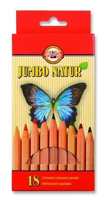 KOH-I-NOOR JUMBO NATUR COLOURED PENCILS - Pack of 18 Assorted Colour Pencils