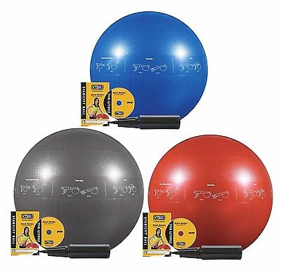 GoFit Professional Core Stability Gym Ball with Training DVD - Select Your Size