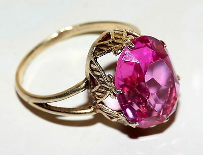 EXCLUSIVE ROYAL Tourmaline stone Ring Silver 875 USSR Antique SIZE 9