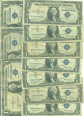 Ten $1 Silver Certificates All 1935 Serieses