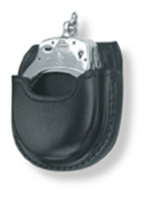 Gould and Goodrich Open Handcuff Case in Black Leather with belt loop