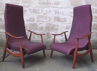 MID CENTURY HIGH BACK LOUNGE / ARM CHAIRS - TWO (2) AVAILABLE adrian pearsall