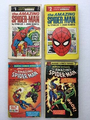 The Amazing Spider-Man Spiderman Comic Pocket Book Lot Of 4 1 2 3 - Stan Lee VTG