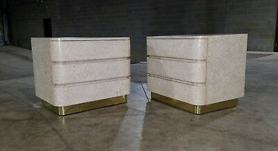 Pair of Contemporary Crackle Finish Brass Base Nightstands (SHIPPING AVAILABLE)