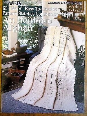 ~Crochet An Heirloom Afghan - 63 More Pattern Stitches - Leisure Arts - Vgc~