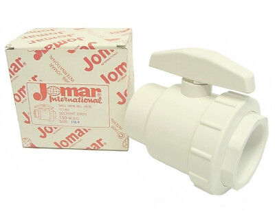 "1-1/2"" Jomar PVC Single Union Solvent End S-801 Ball Valve"