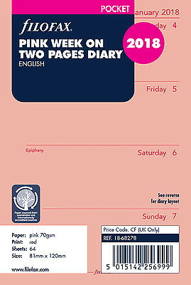 Filofax Pocket Pink Week to View (On 2 Pages) 2018 Diary Refill 18-68278