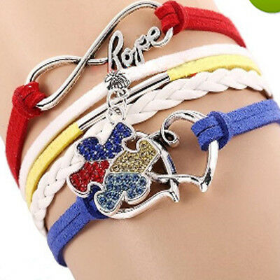 NEW Jewelry Fashion Leather Cute Infinity Charm Bracelet Silver 3 Styles Choose