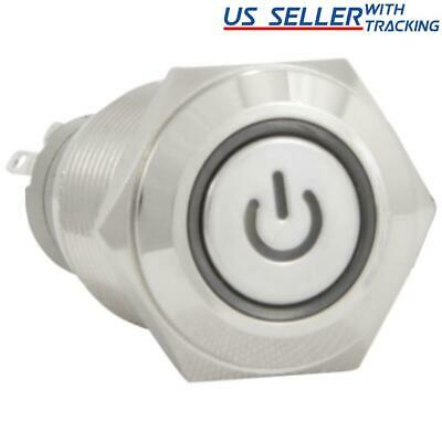 16mm 12V Latching Push Button Power Switch Stainless Steel White LED Waterproof