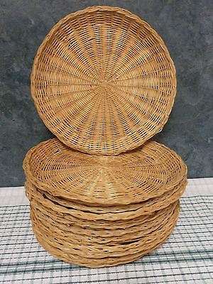 """Wicker Bamboo Rattan 10"""" Paper Plate Holders 8pk Picnic Party Camping BBQ"""
