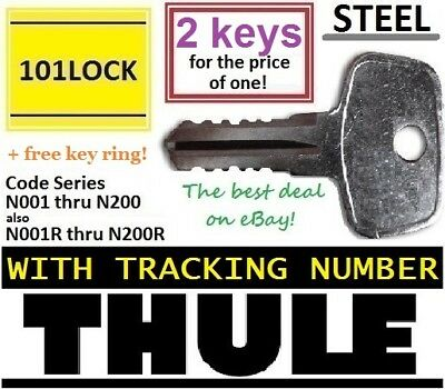 2 THULE Replacement Keys byCode Car Ski Rack Lock Bike Hauler Snowboard Carrier