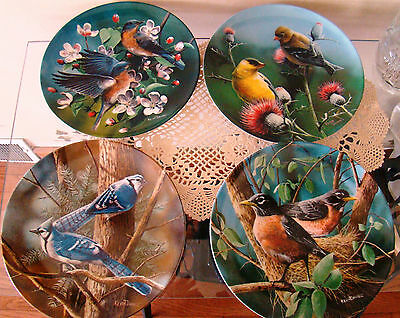 "4 of the ""Birds Of Your Garden"" Series by Kevin Daniels Knowles Collector Plates"